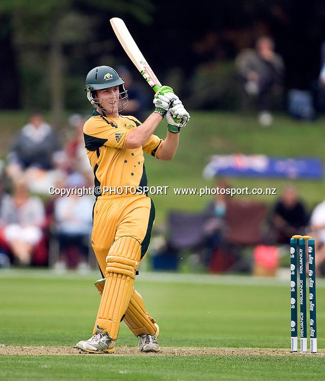 Australian batsman Mitchell Marsh during his innings of 53. New Zealand v Australia, U19 Cricket World Cup Quarter Final, Mainpower Oval, Rangiora, Sunday 24 January 2010. Photo : Joseph Johnson/PHOTOSPORT