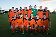 St John's pose with the George Grant Memorial Trophy after coming from 2-0 down to beat Grove on penalties - Grove (white) v. St.John's (tangerine) in the U17 George Grant Memorial Trophy Final (sponsored by DFCSS) at Whitton Park, Dundee, Photo: David Young<br /> <br />  - &copy; David Young - www.davidyoungphoto.co.uk - email: davidyoungphoto@gmail.com