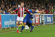 Sheffield United midfielder Mark Duffy (21) and AFC Wimbledon midfielder Chris Whelpdale (11) during the EFL Sky Bet League 1 match between AFC Wimbledon and Sheffield Utd at The Cherry Red Records Stadium, Kingston, England on 10 September 2016. Photo by Stuart Butcher.