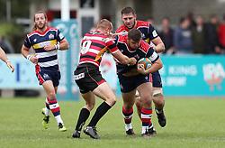 Nicky Thomas of Bristol Rugby hand offs Alex Day of Cornish Pirates - Mandatory by-line: Gary Day/JMP - 10/09/2017 - RUGBY - Mennaye Field - Penzance, England - Cornish Pirates v Bristol Rugby - Greene King IPA Championship