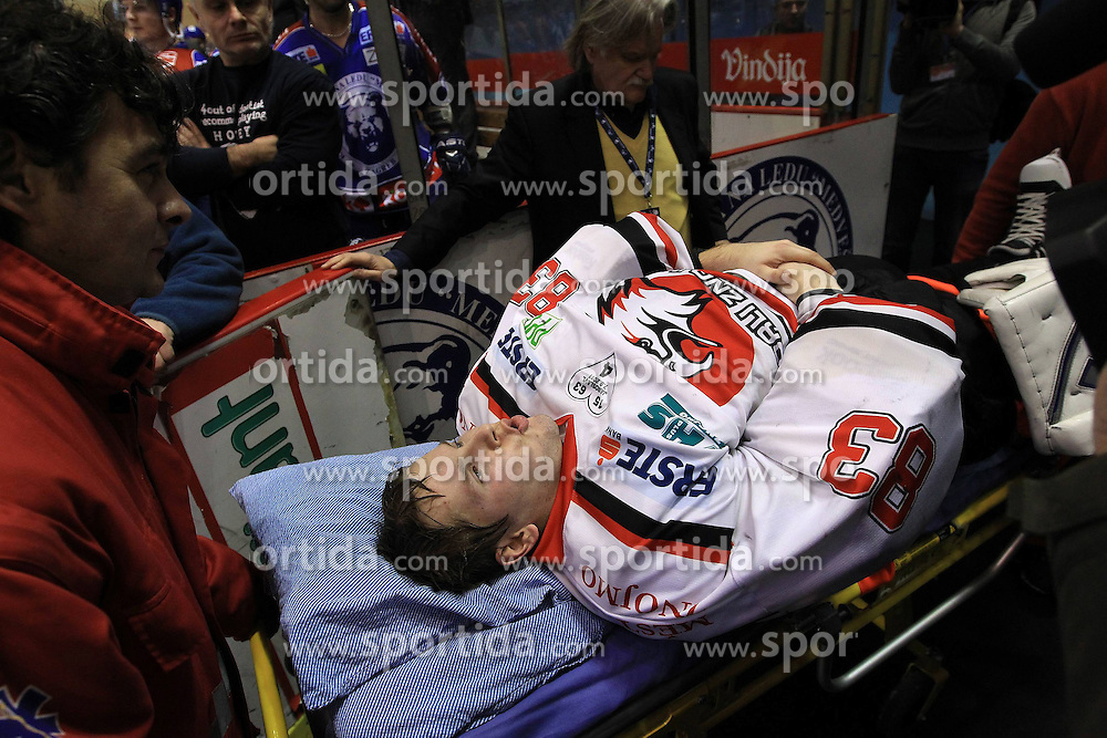 30.12.2011, Dom Sportova, Zagreb, CRO, EBEL, KHL MEDVESCAK ZAGREB vs HC Orli Znojmo Injured Filip Landsman during EBEL Eishockey game between Medvescak KHL Zagreb and HC Orli Znojmo at Dom Sportova in Zagreb, Croatia on 2011/12/30. EXPA Pictures © 2011, PhotoCredit: EXPA/ nph/ Antonio Bronic/ PIXSELL ..***** ATTENTION - OUT OF GER, CRO *****
