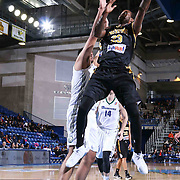 Delaware 87ers Forward Victor Rudd (23) drives towards the basket as Reno Bighorns Center Sim Bhullar (44) defends in the first half of a NBA D-league regular season basketball game between the Delaware 87ers and the Reno Bighorns (Sacramento Kings), Tuesday, Feb. 10, 2015 at The Bob Carpenter Sports Convocation Center in Newark, DEL