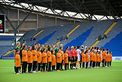 ASTANA, KAZAKHSTAN - Sunday, September 17, 2017: Wales and Kazakhstan players line-up before the FIFA Women's World Cup 2019 Qualifying Round Group 1 match between Kazakhstan and Wales at the Astana Arena. (Pic by David Rawcliffe/Propaganda)