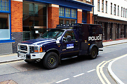 LONDON, UK  29/04/2011. The Royal Wedding of HRH Prince William to Kate Middleton. A massive security operation with 5,000 police on duty is in operation. An armoured police car (pictured) parked in a side street behind Westminster Abbey just in case. Photo credit should read CLIFF HIDE/LNP. Please see special instructions. © under license to London News Pictures