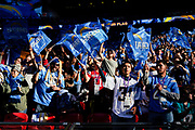 Los Angeles Chargers fans wave their flags during the International Series match between Tennessee Titans and Los Angeles Chargers at Wembley Stadium, London, England on 21 October 2018.