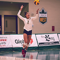 5th year outside hitter, Ashley Sandiford (1) of the Regina Cougars during the Women's Volleyball home game on Thu Nov 15 at Centre for Kinesiology, Health & Sport. Credit: Arthur Ward/Arthur Images