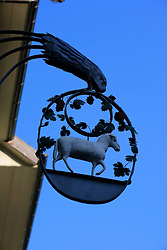 SWITZERLAND BERN 1MAR12 - Ornate ironwork sign above a shop in Bern city centre,  Switzerland.....jre/Photo by Jiri Rezac....© Jiri Rezac 2012