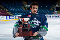 KELOWNA, CANADA - APRIL 30: Carl Stankowski #1 of the Seattle Thunderbirds holds the Western Conference Cup on April 30, 2017 at Prospera Place in Kelowna, British Columbia, Canada.  (Photo by Marissa Baecker/Shoot the Breeze)  *** Local Caption ***
