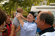 Roma 17 Luglio 2008.Censimento della Croce Rossa al Campo Rom di via Mazzacurati nel Quartiere Corviale abitato da rom bosnaci..Census of the Red Cross on Rom's camp inhabited from Romani bosnians