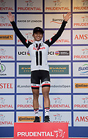 Coryn Rivera of USA and Team Sunweb celebrates winning the Prudential RideLondon Classique from the podium 29/07/2017<br /> <br /> Photo: Tom Lovelock/Silverhub for Prudential RideLondon<br /> <br /> Prudential RideLondon is the world&rsquo;s greatest festival of cycling, involving 100,000+ cyclists &ndash; from Olympic champions to a free family fun ride - riding in events over closed roads in London and Surrey over the weekend of 28th to 30th July 2017. <br /> <br /> See www.PrudentialRideLondon.co.uk for more.<br /> <br /> For further information: media@londonmarathonevents.co.uk