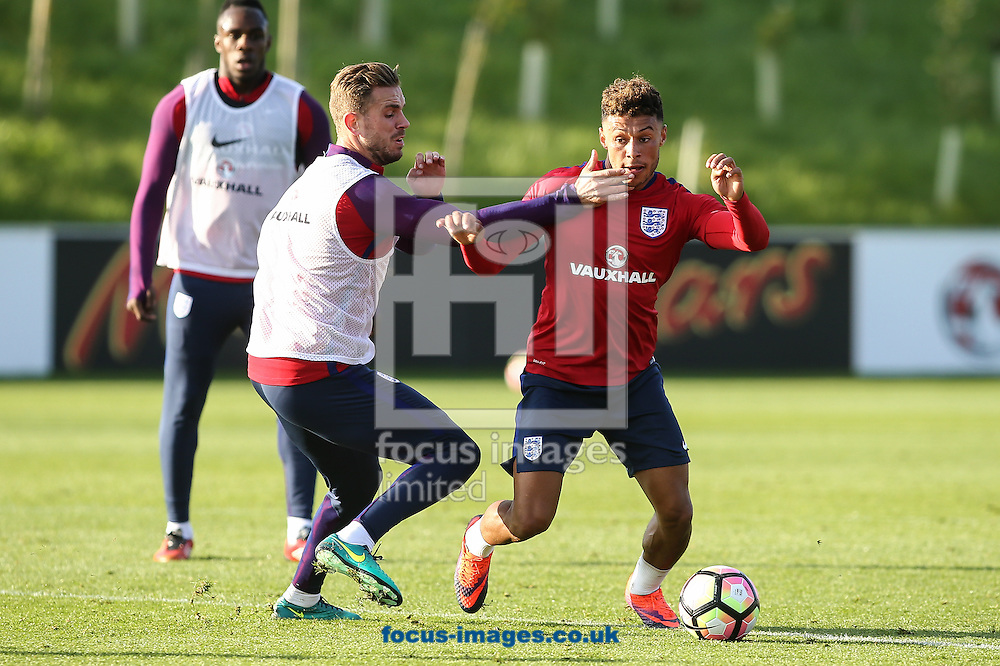 Danny Rose (Tottenham) gets past Jordan Henderson (Liverpool) (left) during the England training session at St Georges Park, Burton upon Trent<br /> Picture by Andy Kearns/Focus Images Ltd 0781 864 4264<br /> 04/10/2016