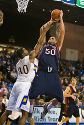 November 30, 2009; San Jose, CA, USA;  Saint Mary's Gaels center Omar Samhan (50) shoots over San Jose State Spartans center Chris Oakes (30) during the second half at the Event Center Arena.  Saint Mary's defeated San Jose State 78-71.