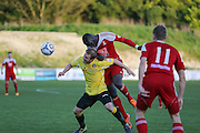 Whitehawk midfielder Arnaud Mendy wins header during the National League South Play Off 1st Leg match between Whitehawk FC and Ebbsfleet United at the Enclosed Ground, Whitehawk, United Kingdom on 4 May 2016. Photo by Phil Duncan.