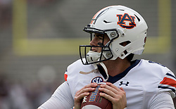 Auburn quarterback Jarrett Stidham (8) throws a pass during warmups before the start of an NCAA college football game against Texas A&M on Saturday, Nov. 4, 2017, in College Station, Texas. (AP Photo/Sam Craft)