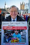 Lord Alf Dubs joins supporters of the Child Refugee charity Safe Passage calling on Peers in the House of Lords to back an amendment and uphold refugee family reunion on the 20th of January 2020, Parliament Square, Westminster, London, United Kingdom. 95% of the children currently receiving legal support from the charity Safe Passage International to reunite with relatives in the UK would not be eligible for family reunion under current UK Immigration Rules. (photo by Andrew Aitchison / In Pictures via Getty Images)