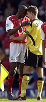 Photo: Daniel Hambury, Digitalsport<br /> Arsenal v Liverpool.<br /> FA Barclays Premiership.<br /> 08/05/2005.<br /> Arsenal's Patrick Vieira and Liverpool's Steven Gerrard exchange a moment at the end of the game.<br /> Norway only