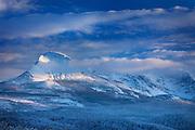 Divide Mountain after autumn snowstorm, Glacier National Park Montana USA