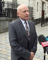 Edward Barnard, whose brother Patrick was murdered by the Glenanne gang, speaking to the media outside Belfast High Court after a judge found that the police's failure to conduct an overarching examination of state collusion with the notorious loyalist murder gang in Northern Ireland was inconsistent with its human rights obligations.
