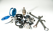 washers and plumbing tools On white Background