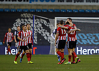 Football - 2019 / 2020 Emirates FA Cup - Fourth Round: Millwall vs. Sheffield United<br /> <br /> Sheffield United players congratulate goalscorer Mo Besic (Sheffield United) after he scores at The Den.<br /> <br /> COLORSPORT/DANIEL BEARHAM