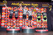 Oak Valley ( Elgin / Grabouw ), SOUTH AFRICA - stage podium (l to r) Brandon Stewart and Max Knox DCM Chrome (2nd) Lukas & Mathias Fluckiger Trek World Racing (1st) and Hannes Genze and Jochen Kaess (Multivan Merida) during the final stage stage seven of the Absa Cape Epic Mountain Bike Stage Race between Oak Valley ( Elgin / Grabouw ) and Lourensford on the 28 March 2009 in the Western Cape, South Africa..Photo by Gary Perkin  /SPORTZPICS