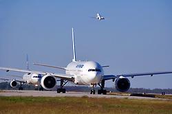 Air France jetliners preparing to depart Houston's Intercontinental Airport