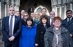 © Licensed to London News Pictures. 18/12/2019. London, UK. Relatives and survivors of the 1982 IRA Hyde Park Bomb at The High Court (L-R) Mark Tipper, Catherine Utley, Simon Utley, Marion Bright, Judith Jenkins, Peter McClelland, Lorraine Nutt, Louise Tipper, Christoper Daly, Vincenzo Latino, SarahJane Young and solicitor Matt Jury -  where they have won a ruling in a civil case against convicted IRA member John Downey. The court has ruled that John Downey was an active participant in the bombing.  The Hyde Park bombing in July 1982 killed Squadron Quartermaster Corporal Roy Bright, Lieutenant Anthony Daly, Lance Corporal Jeffrey Young and Trooper Simon Tipper. Photo credit: Peter Macdiarmid/LNP