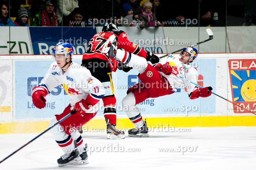 13.02.2015, Ice Rink, Znojmo, CZE, EBEL, HC Orli Znojmo vs EC Red Bull Salzburg, Platzierungsrunde, im Bild v.l. Marco Brucker (EC Red Bull Salzburg) Ondrej Fiala (HC Orli Znojmo) Matthias Trattnig (EC Red Bull Salzburg) // during the Erste Bank Icehockey League placement round match between HC Orli Znojmo and EC Red Bull Salzburg at the Ice Rink in Znojmo, Czech Republic on 2015/02/13. EXPA Pictures © 2015, PhotoCredit: EXPA/ Rostislav Pfeffer