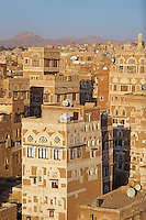 Yemen, Sanna, vielle ville classée au patrimoine mondiale de l'Unesco. // Yemen, Sanaa, Old Town, elevated view, Unesco World Heritage.