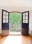 View of garden through open office door