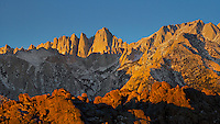 First rays of the day kissing the highest peak in the lover 48 States - Mt. Whitney. Some say, these peaks look like rabbit ears.