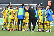 Oxford United manager Karl Robinson talks to his players in a huddle at the end of the EFL Sky Bet League 1 match between Coventry City and Oxford United at the Ricoh Arena, Coventry, England on 23 March 2019.