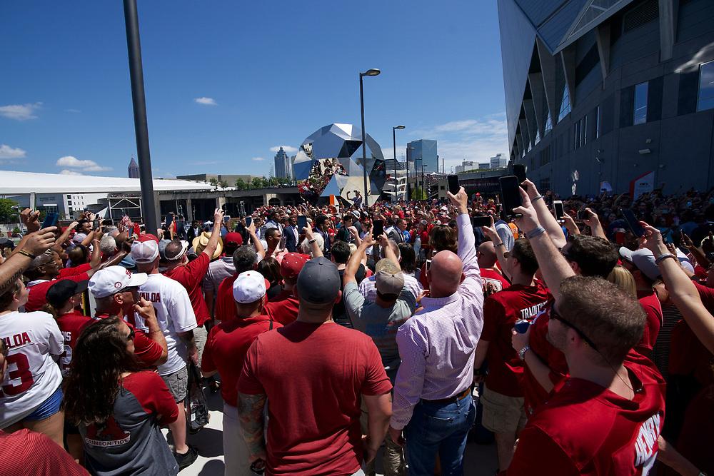 Alabama Crimson Tide team walk prior to the Chick-fil-A Kickoff Game at the Mercedes-Benz Stadium, Saturday, August 31, 2019, in Atlanta. Alabama won 42-3. (Paul Abell via Abell Images for Chick-fil-A Kickoff)