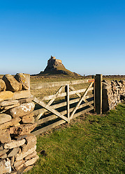 View of Lindisfarne Castle after renovations completed in February 2019, on Holy Island in Northumberland , England, UK