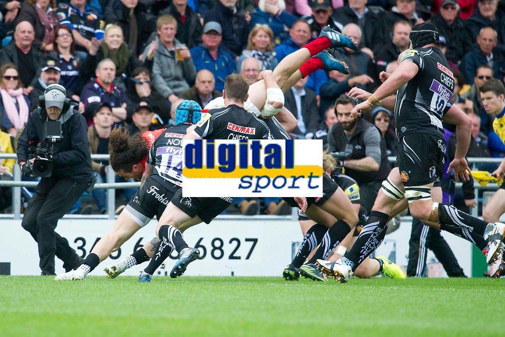 Rugby Union - 2016 / 2017 Aviva Premiership - Semi-Final: Exeter Chiefs vs. Saracens<br /> <br /> Mike Ellery of Saracen scores a try  to give saracens the lead , at Sandy Park.<br /> <br /> COLORSPORT/WINSTON BYNORTH