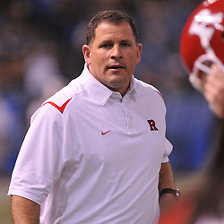 Dec 19, 2009; St. Petersburg, Fla., USA; Rutgers head coach Greg Schiano oversees warmups before NCAA Football action in Rutgers' 45-24 victory over Central Florida in the St. Petersburg Bowl at Tropicana Field.