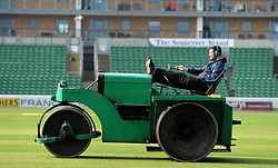 The Groundstaff pose during a break in preparing the wicket reading for the new season.  - Photo mandatory by-line: Harry Trump/JMP - Mobile: 07966 386802 - 17/03/15 - SPORT - Cricket - Somerset Press Call - The County Ground, Taunton, England.