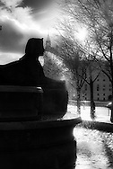 France. Paris. 1st district. place du Chatelet, Palmier fountain erected after napoleon war in Egypt/ Fontaine de style egyptien place du Chatelet