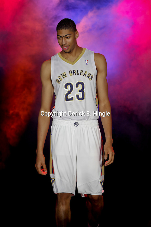 Aug 1, 2013; Metairie, LA, USA; New Orleans Pelicans forward Anthony Davis (23) during a uniform unveiling at the team practice facility. Mandatory Credit: Derick E. Hingle-USA TODAY Sports