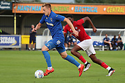 AFC Wimbledon striker Joe Pigott (39) dribbling during the Pre-Season Friendly match between AFC Wimbledon and Bristol City at the Cherry Red Records Stadium, Kingston, England on 9 July 2019.
