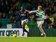 4th April 2018, Celtic Park, Glasgow, Scotland; Scottish Premier League football, Celtic versus Dundee; Glen Kamara of Dundee and Stuart Armstrong of Celtic