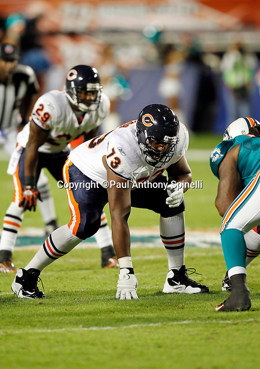 Chicago Bears offensive tackle J'Marcus Webb (73) gets set in a three point stance during the NFL week 11 football game against the Miami Dolphins on Thursday, November 18, 2010 in Miami Gardens, Florida. The Bears won the game 16-0. (©Paul Anthony Spinelli)