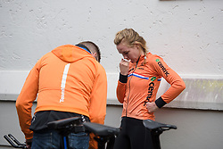 Anna van der Breggen checks her set up prior to the UCI Road World Championships Elite Women's Individual Time Trial 2017 a 21.1 km time trial in Bergen, Norway on September 19, 2017. (Photo by Sean Robinson/Velofocus)