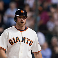 21 April 2009: San Francisco Giants' Nate Schierholtz is seen after scoring on Travis Ishikawa single during the San Francisco Giants' 8-3 win  over the San Diego Padres at AT&T Park in San Francisco, CA.