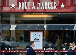© Licensed to London News Pictures. 22/04/2013. London, UK Pret A Manger stores in Piccadilly London today 22nd April 2013. Sandwich chain Pret A Manger has said it plans to create at least 500 new jobs in the UK this year, as part of a plan to add 1,000 new staff worldwide. Its announcement came as it reported a 17% rise in profits to £61.1m in 2012, with sales also up by 17% to £443m.. Photo credit : Stephen Simpson/LNP
