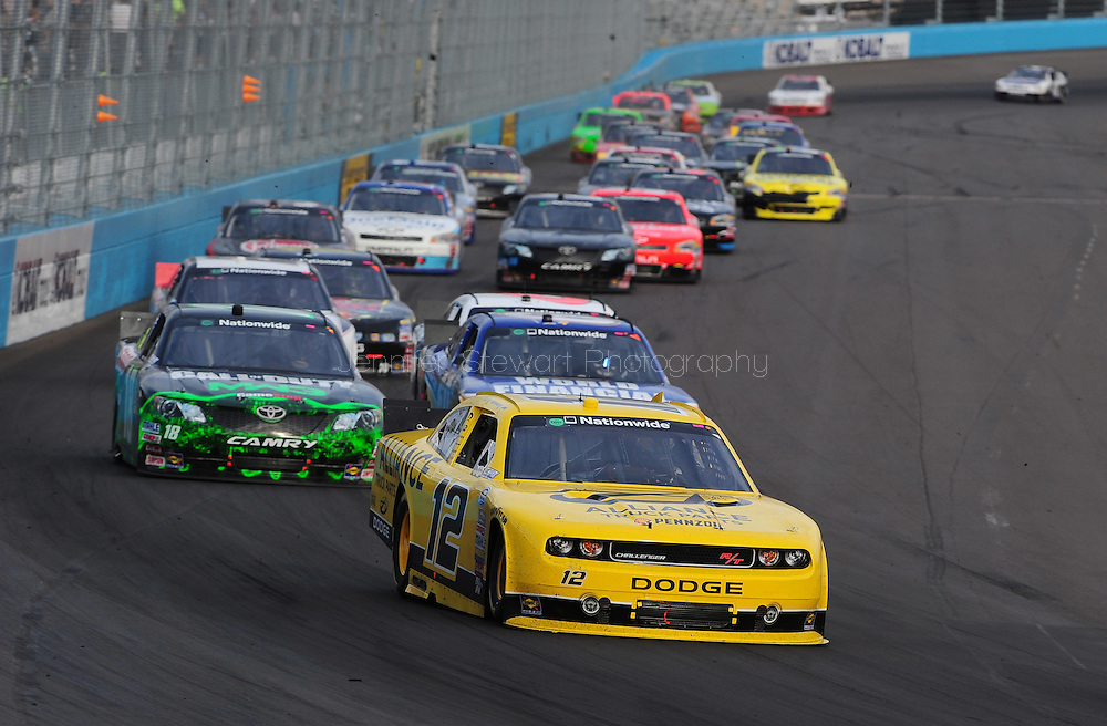 Nov. 12 2011; Avondale, AZ, USA; NASCAR Nationwide Series driver Sam Hornish Jr. leads the pack during the Wypall 200 at Phoenix International Raceway. Mandatory Credit: Jennifer Stewart-US PRESSWIRE