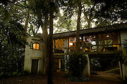 The Glass Bridge Pavilion at dusk.<br /> <br /> Lunuganga. The country home and garden of architect Geoffrey Bawa.