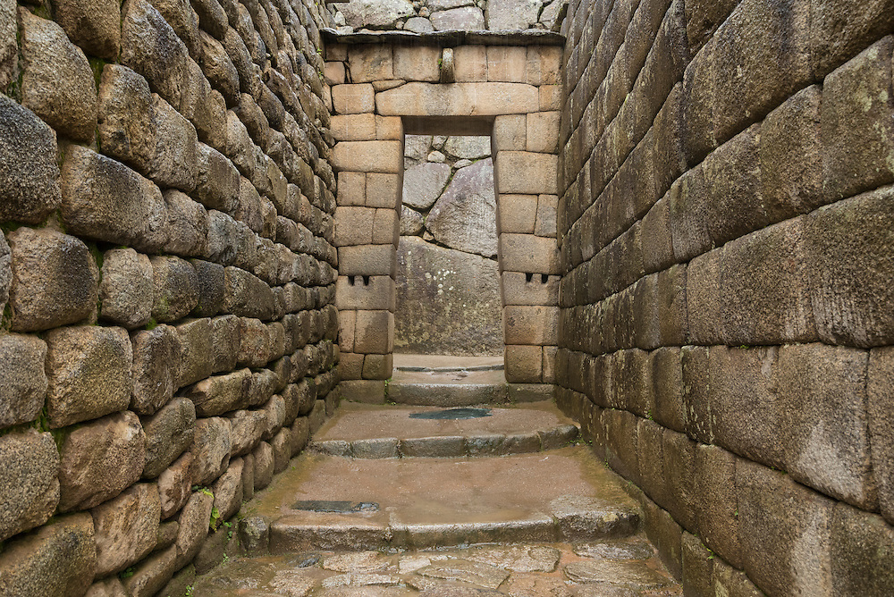 Stone doorway near Temple of the Sun, Machu Picchu, Peru.