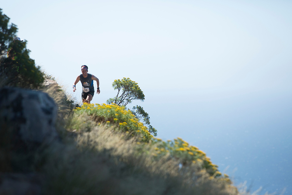 Ryan Sandes pushes hard to catch the first bunch during the finals of the Red Bull Lion Heart, on Lions Head, Cape Town, South Africa, 9 November 2013