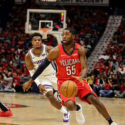 Oct 19, 2018; New Orleans, LA, USA;New Orleans Pelicans guard E'Twaun Moore (55) against the Sacramento Kings during the first half at the Smoothie King Center. The Pelicans defeated the Kings 149-129. Mandatory Credit: Derick E. Hingle-USA TODAY Sports